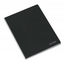caderno agraf. capa preta a5 paut.