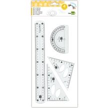 conj. esquadro 10/14cm + régua 30cm + transferidor cx 5