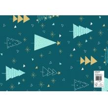 papel fantasia natal azul árvores cx 25