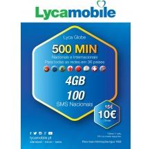 cartão lycamobile globe 10€ pack 4