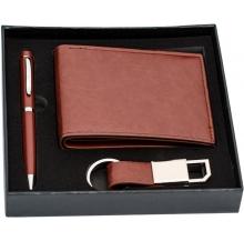 conj. carteira + caneta + porta-chaves cx 2