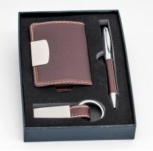 conj. porta-cartões + caneta + porta-chaves cx 2